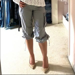 Light Gray Cropped Track Cargo Pants XS 00